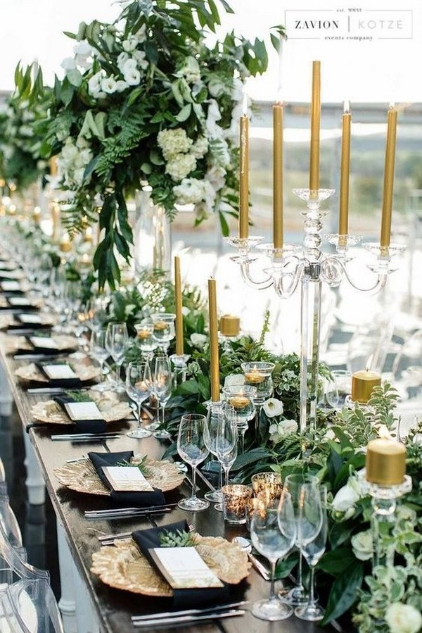 Black, white, gold and olive green wedding table settings