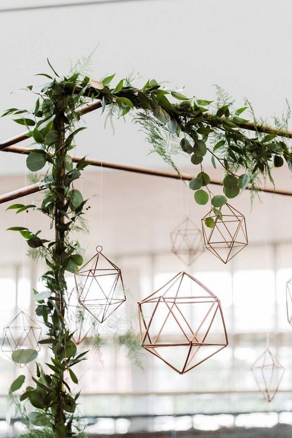 Copper, greenery and geometric wedding arch ideas