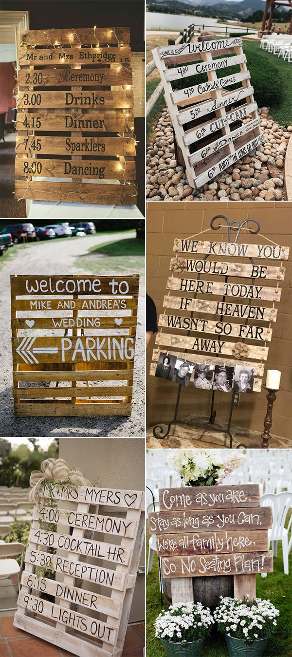 DIY wooden pallets country wedding signs