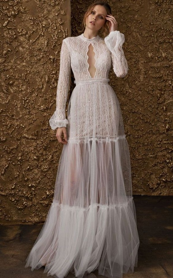 Nurit Hen boho wedding dress with long sleeves
