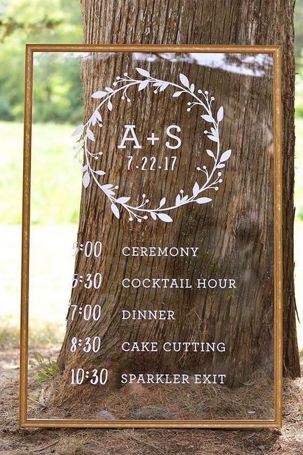 acrylic wedding day timline sign ideas