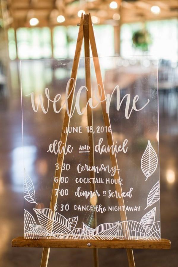 acrylic wedding welcome sign with timeline