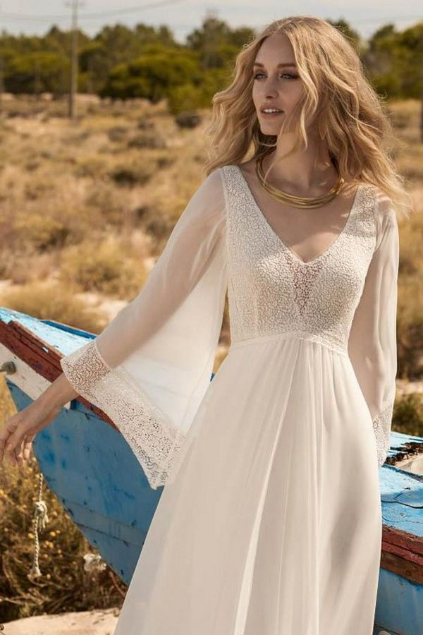 beaded boho chic wedding dress with long sleeves