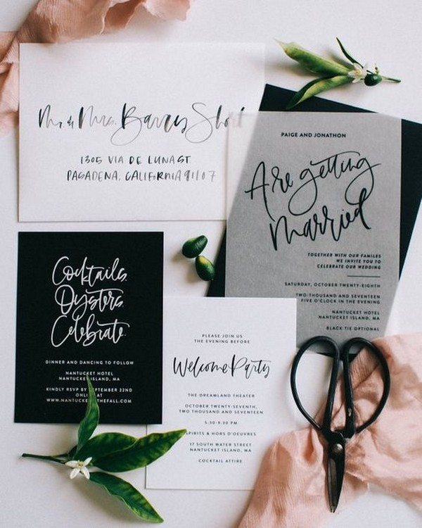 black and white layered wedding invitations