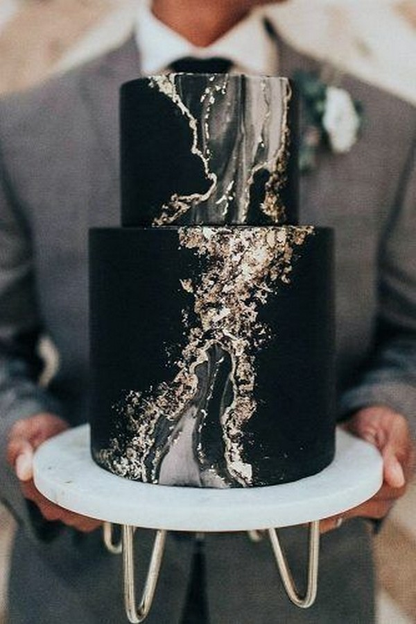 black white and gold marble wedding cake ideas
