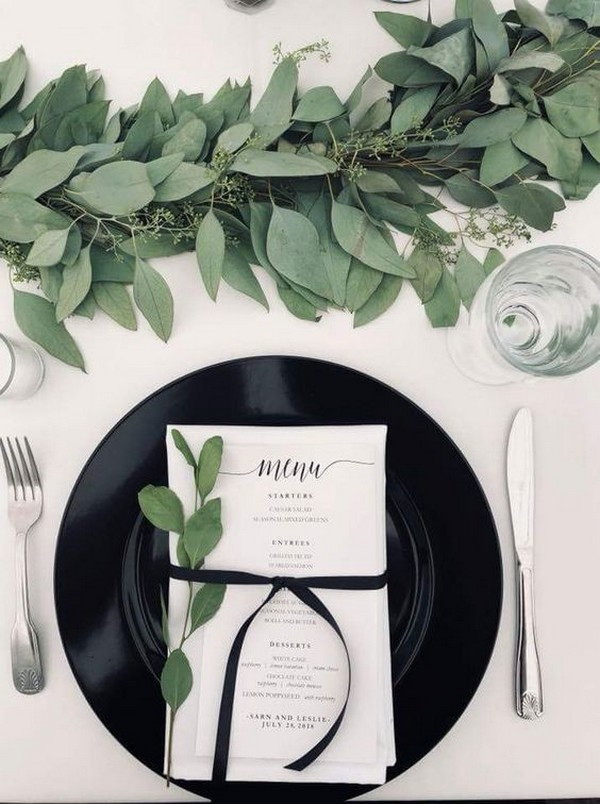 black white and greenery wedding decoration ideas