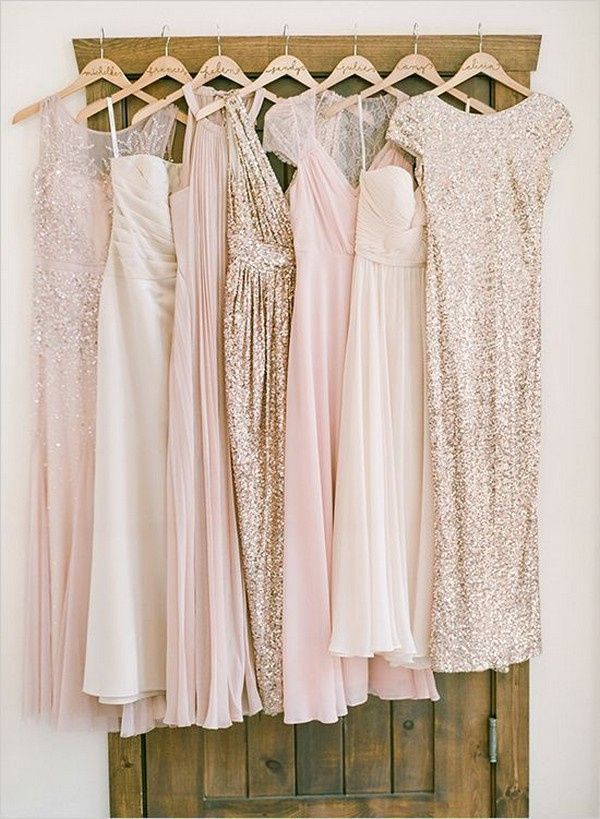 blush and glitter gold mismatched bridesmaid dresses