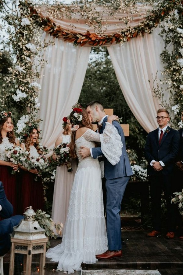 boho backyard fall wedding arch ideas
