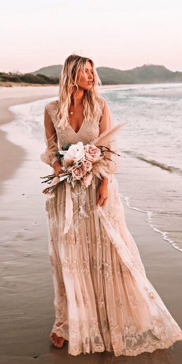 boho beach wedding dress with long sleeves