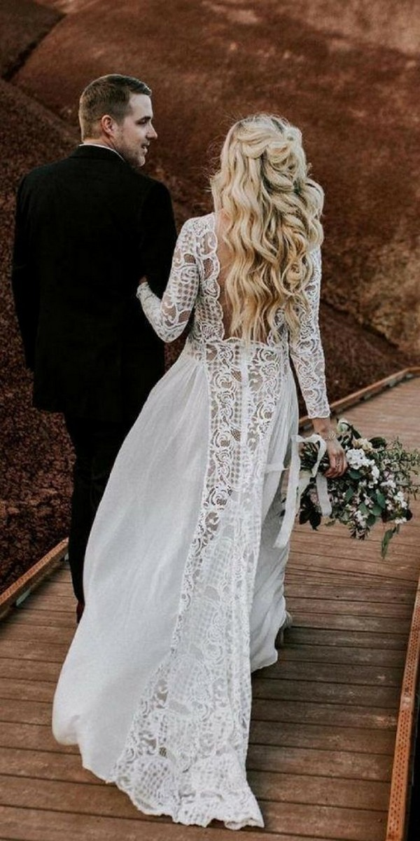 boho chic lace wedding dress