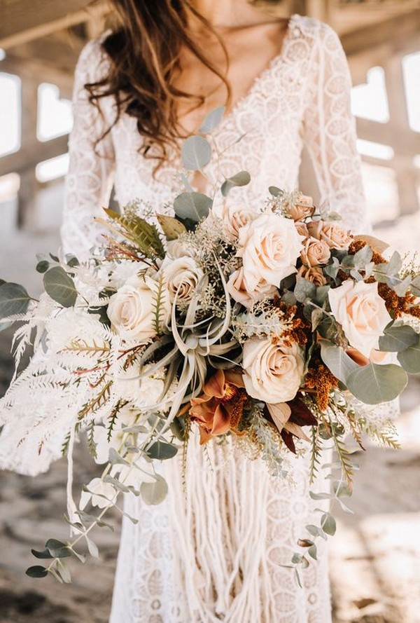 boho chic wedding dress with long lace sleeves