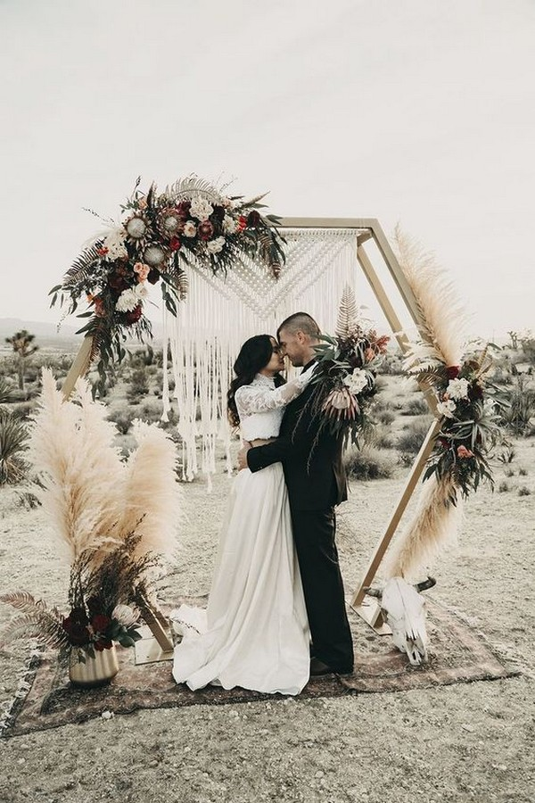 boho fall wedding ceremony arch ideas