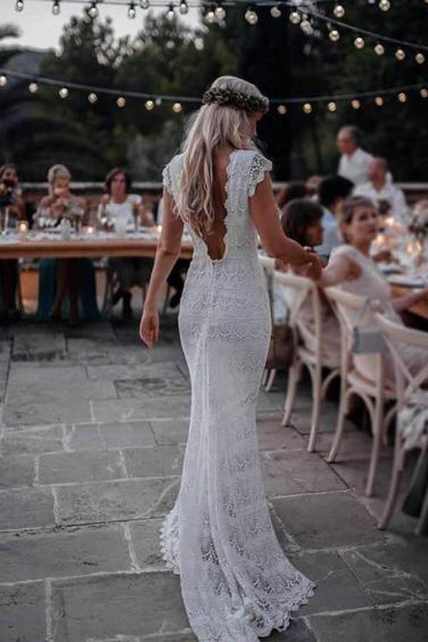 boho lace sheath wedding dress