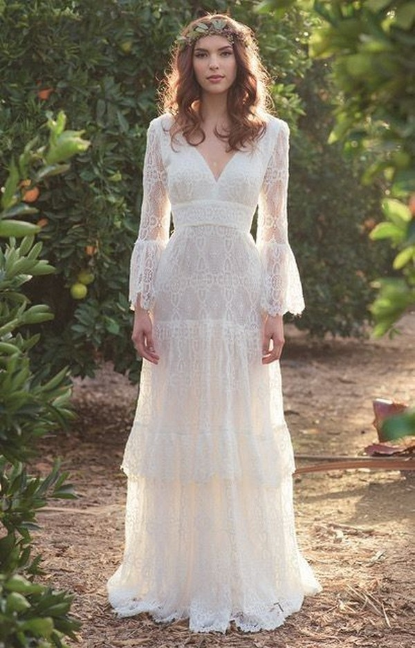 boho lace wedding dress with long sleeves