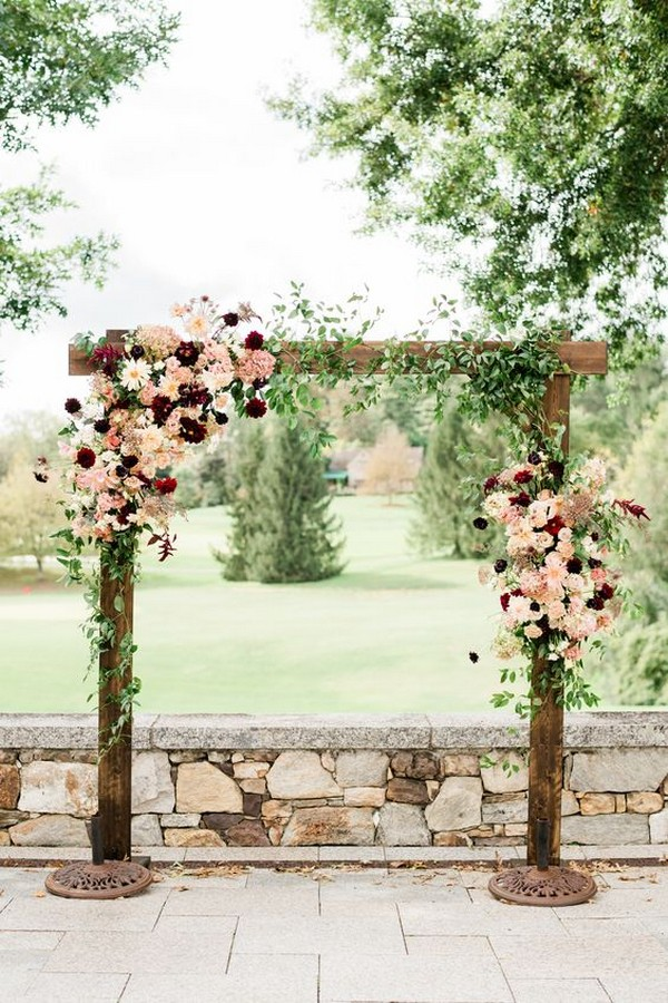 burgundy and blush fall wedding arch ideas