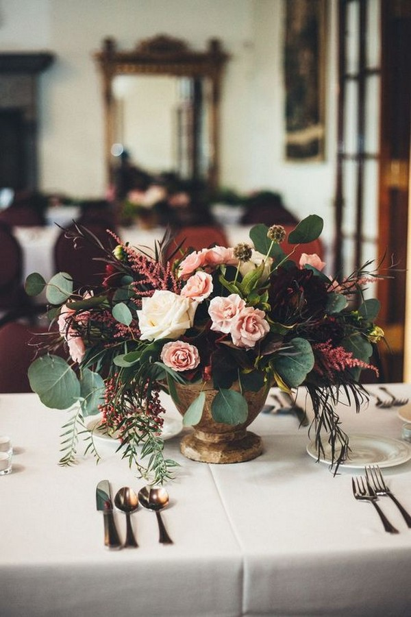 burgundy and blush fall wedding centerpiece