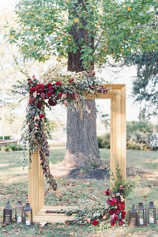burgundy and gold photo frame fall wedding arch