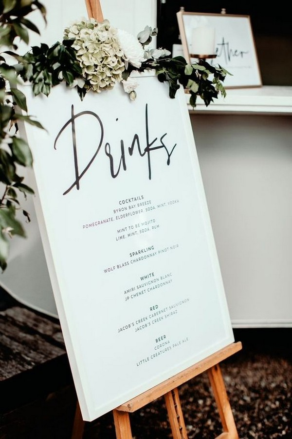 calligraphy wedding drinks menu sign ideas