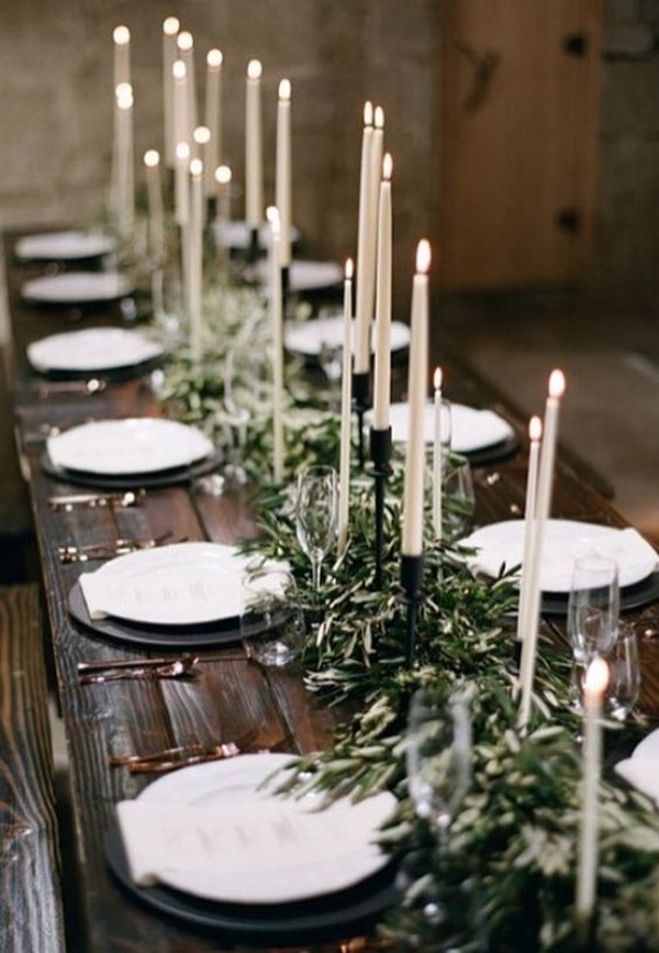 chic boho greenery white and black wedding table setting ideas