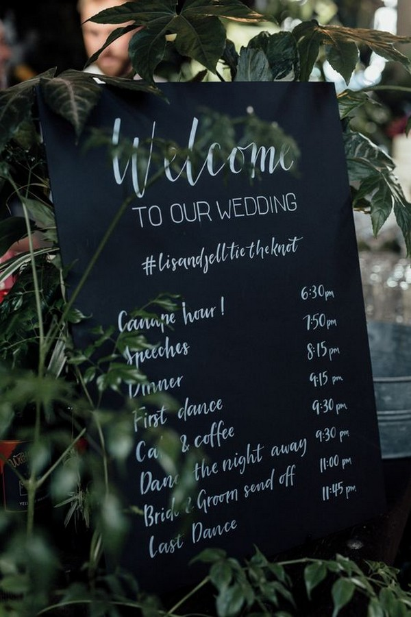 chic chalkboard wedding day timeline sign