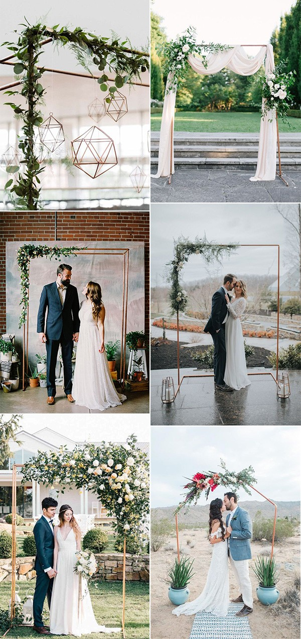 chic copper and greenery wedding arches