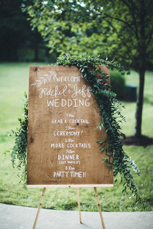 chic rustic wood wedding day timeline sign ideas