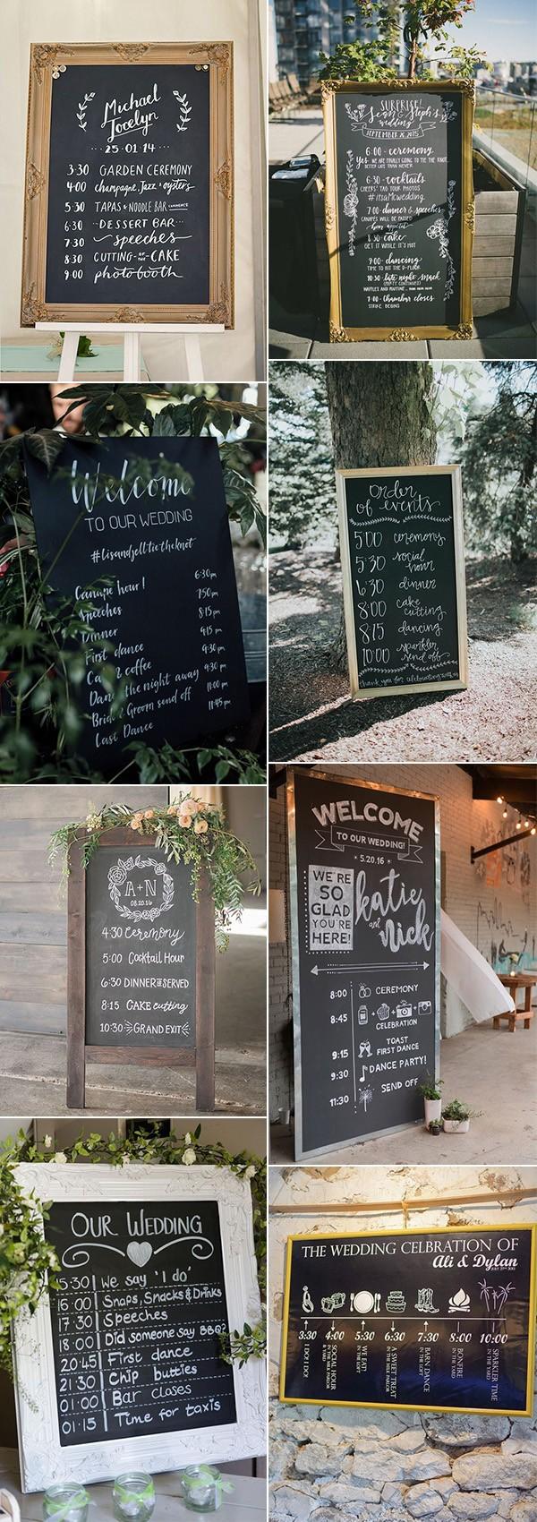 chic vintage chalkboard wedding day timeline signs