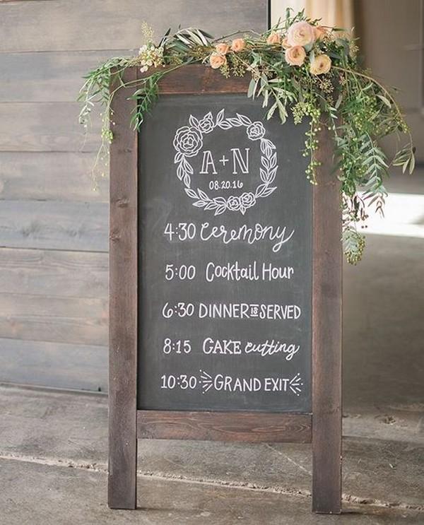 chic vintage chalkboard wedding timeline sign