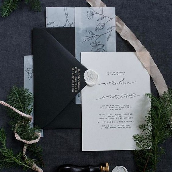 classic white and black wedding invitations