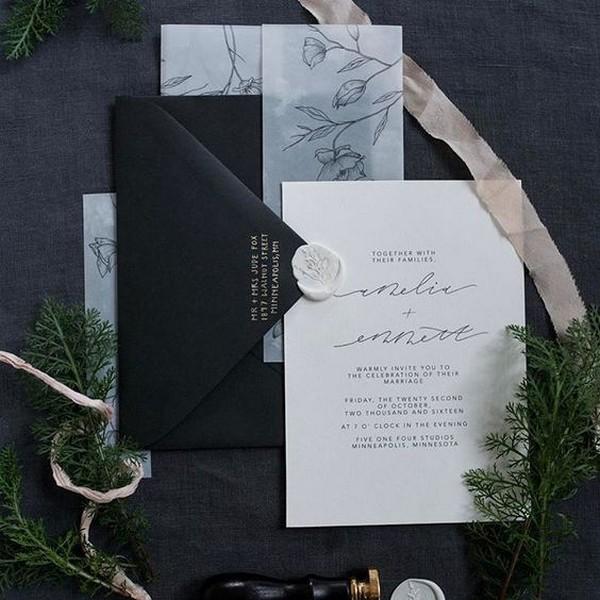 classic white and black wedding invitations