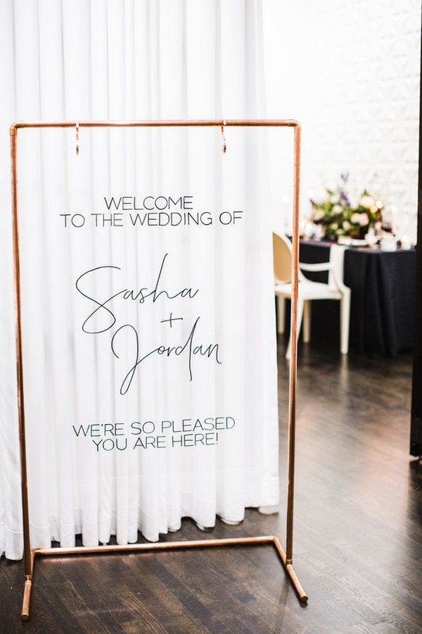 copper pipe wedding welcome sign ideas