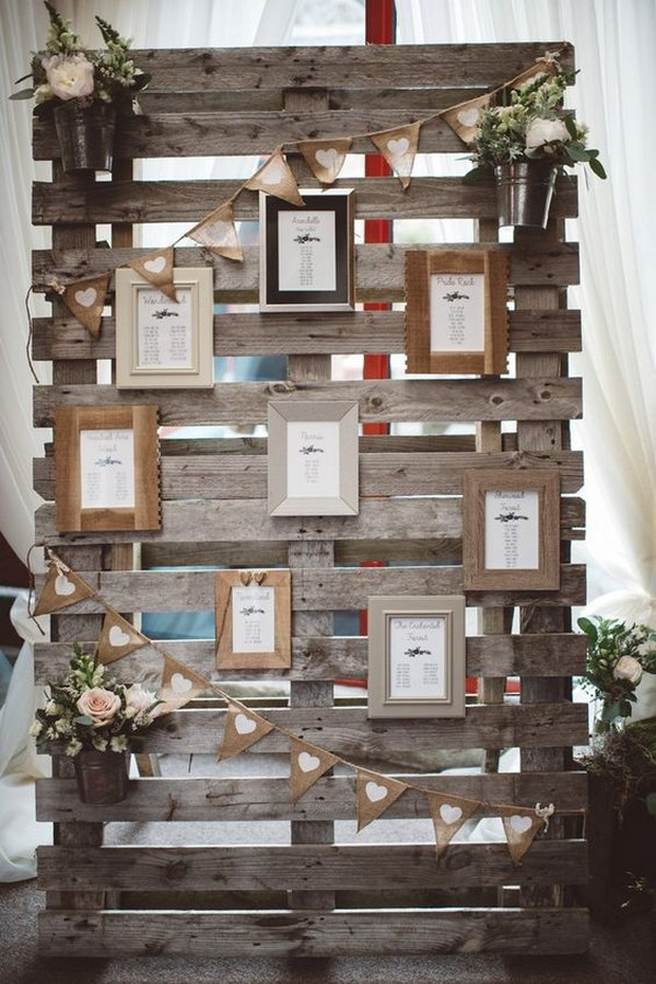 country wedding decoration ideas with wooden pallets