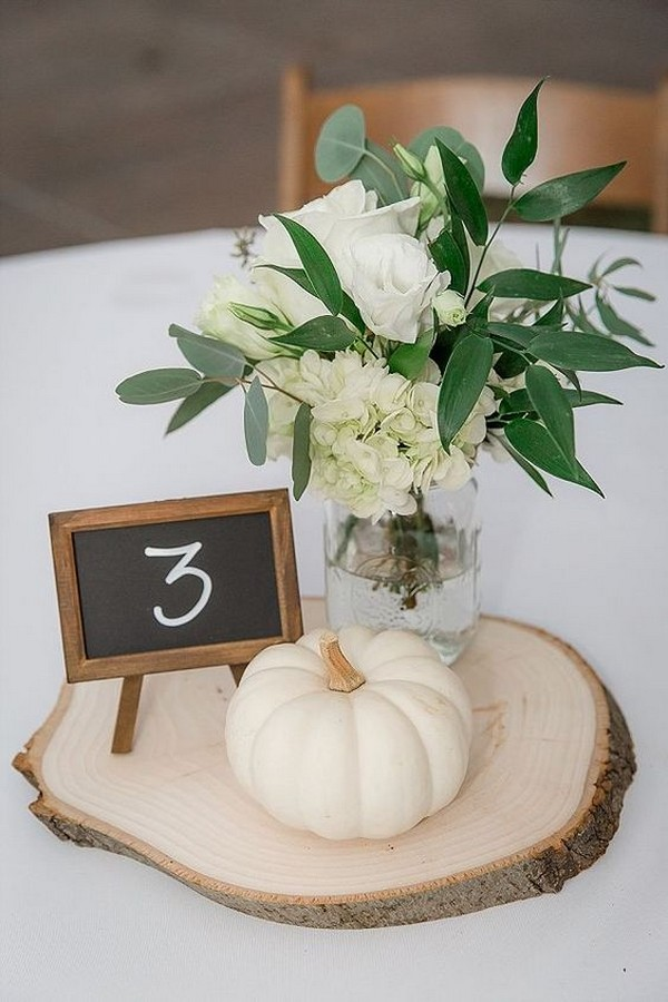 diy rustic fall wedding centerpiece with pumkins