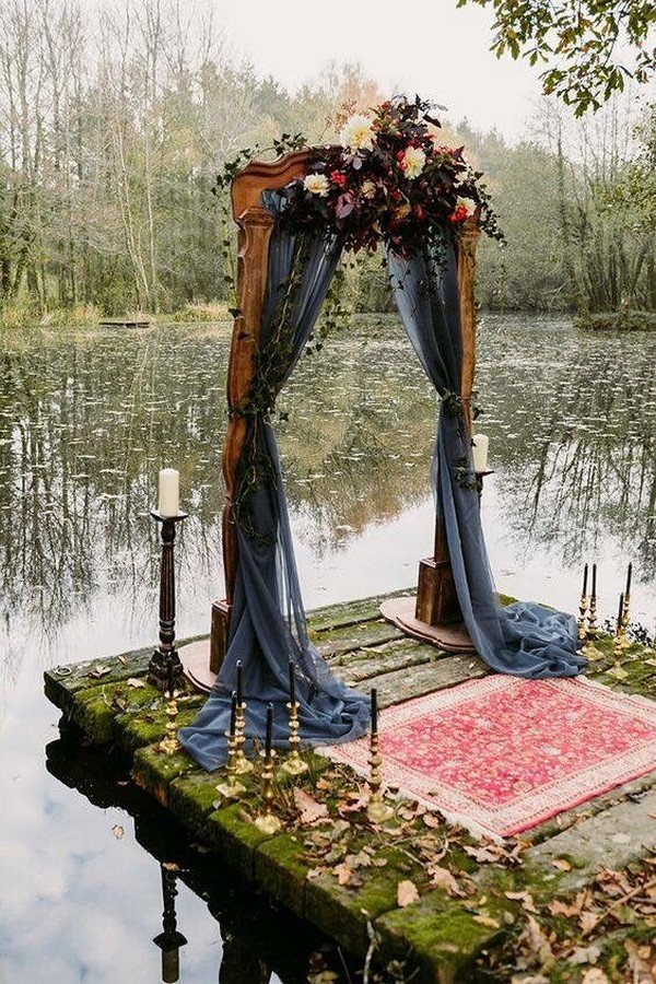 dusty blue fall wedding arch ideas