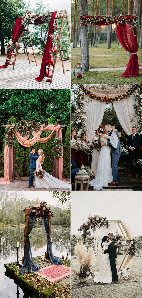 fall colors inspired wedding arch ideas