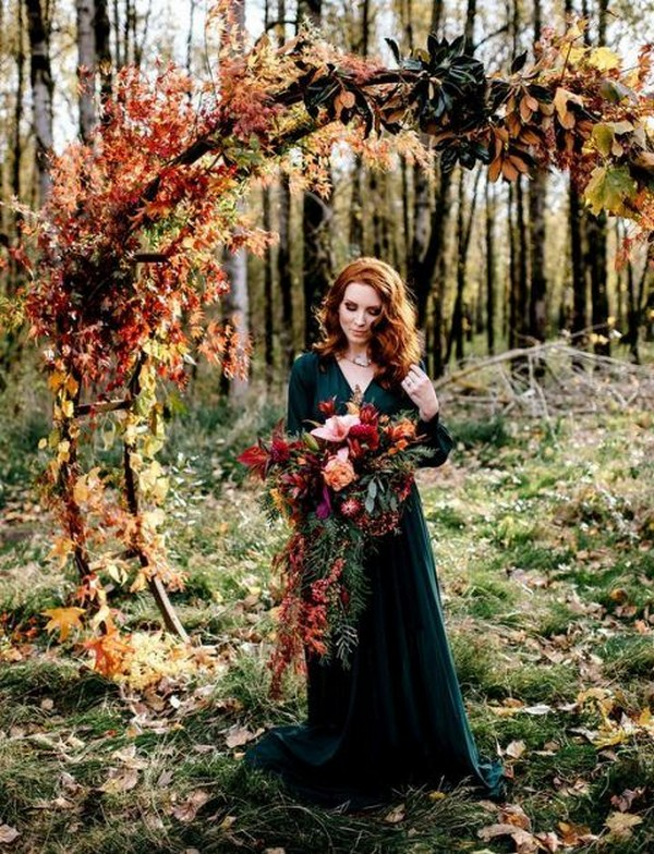 fall colors wedding ceremony arch ideas
