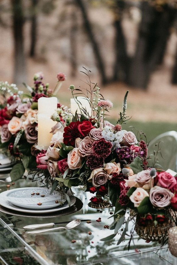 fall wedding centerpiece ideas for long table