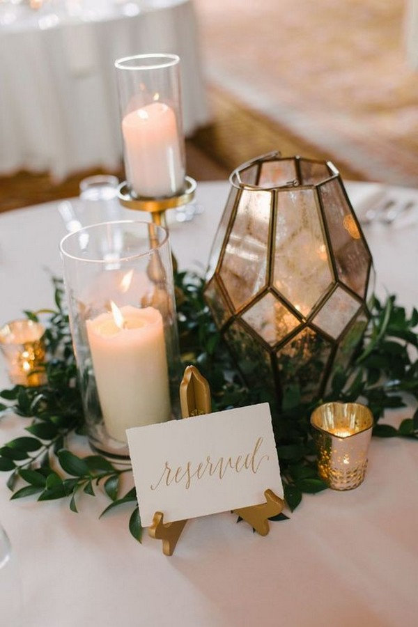 fall wedding centerpiece with candles and geometric lantern