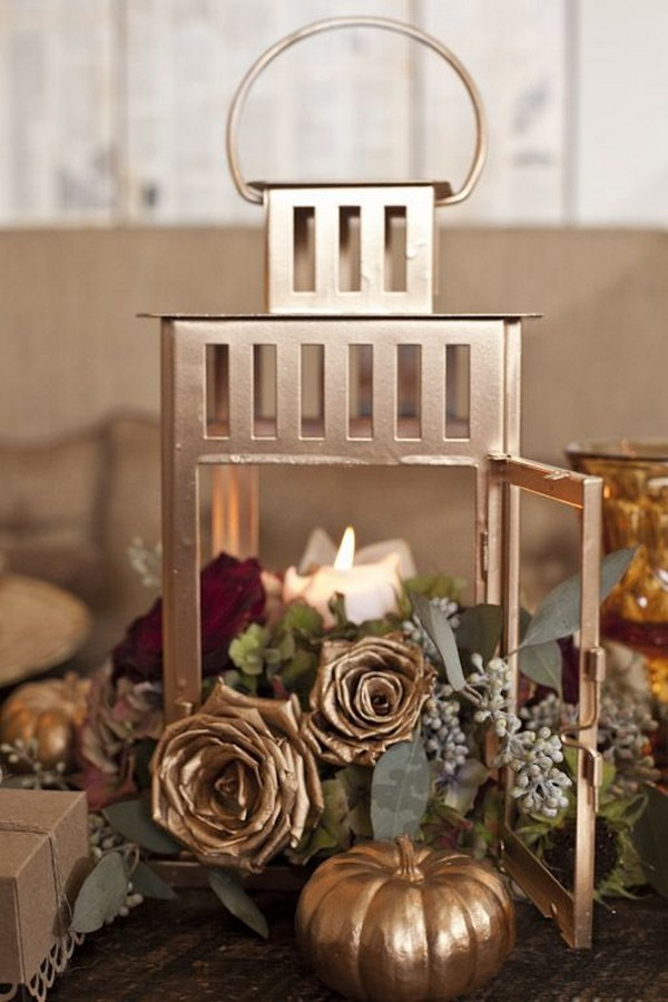 gold and burgundy lantern fall wedding centerpiece