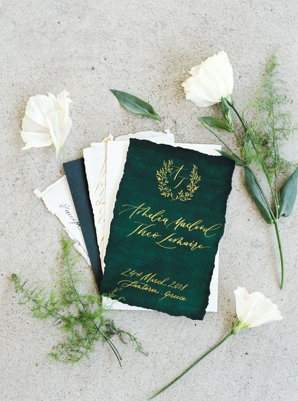 green and white gold foil wedding invitations