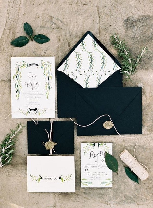 green and white wedding invitations with black envelopes