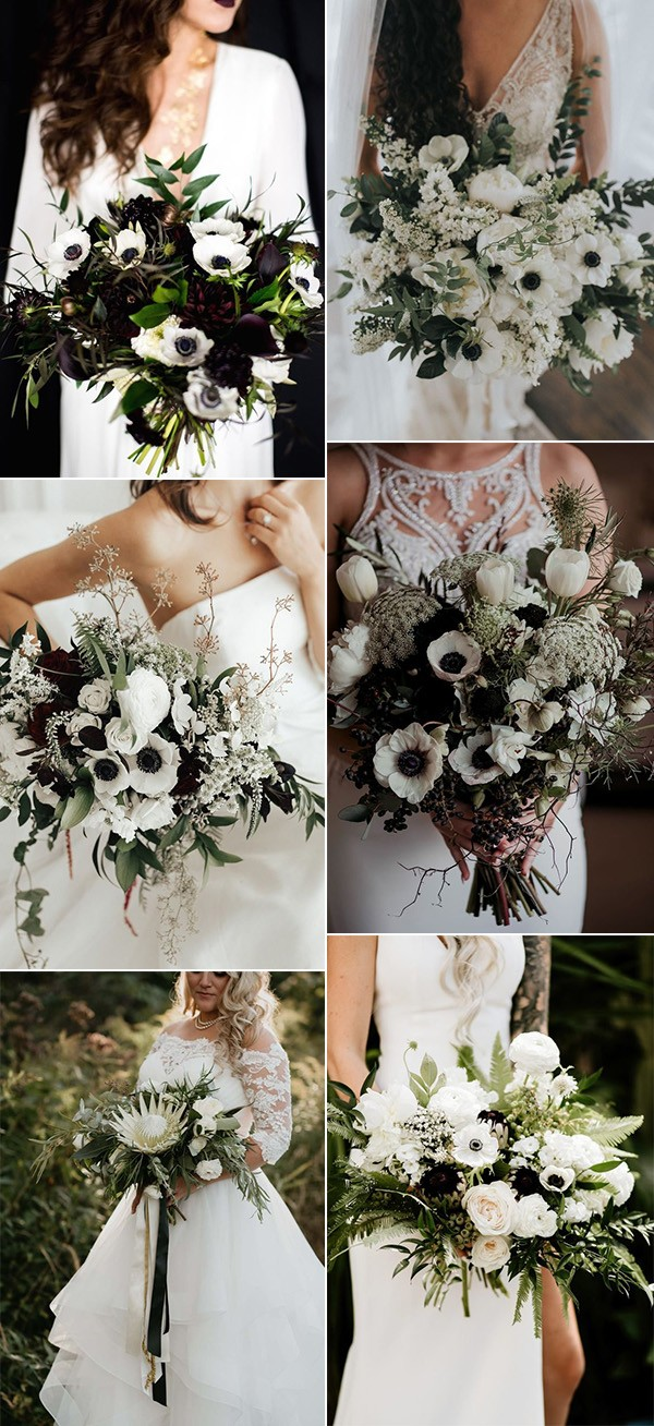 green black and white wedding bouquets
