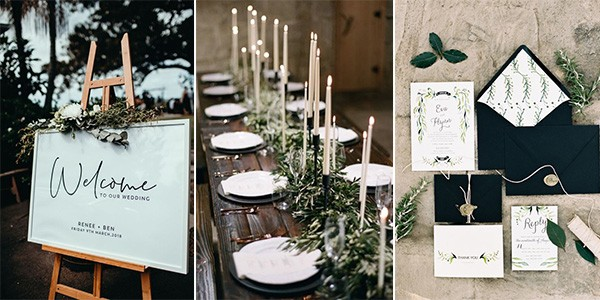 green black and white wedding ideas