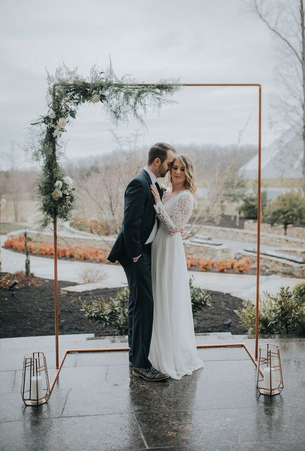 greenery and copper wedding arch ideas