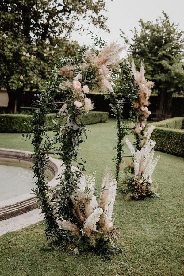 greenery and pampas grass fall wedding arch ideas