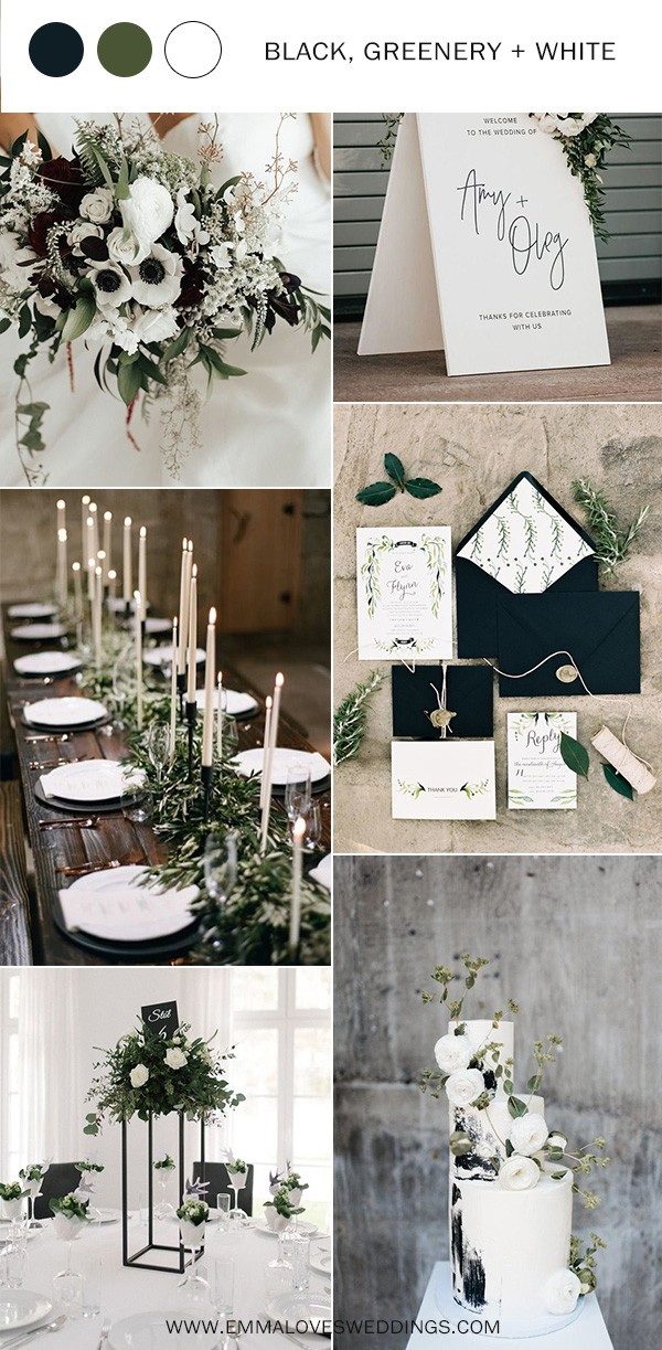 greenery black and white wedding color ideas