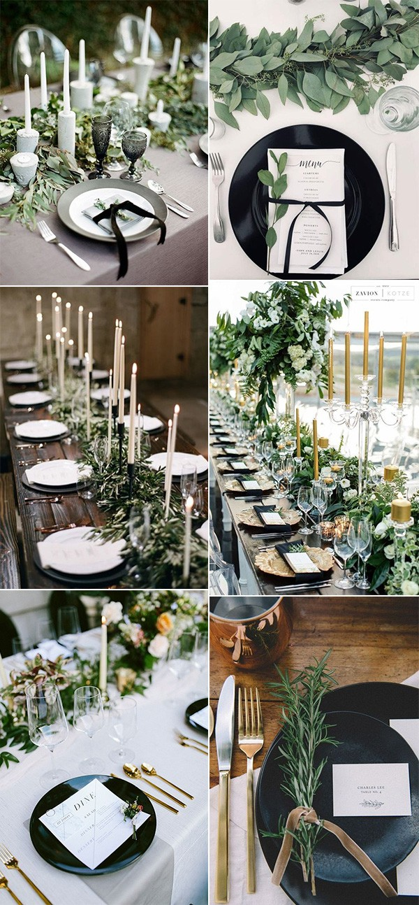 greenery black and white wedding table setting ideas