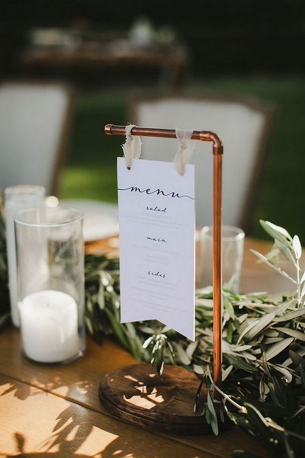 hanging wedding menu sign ideas with copper pipe