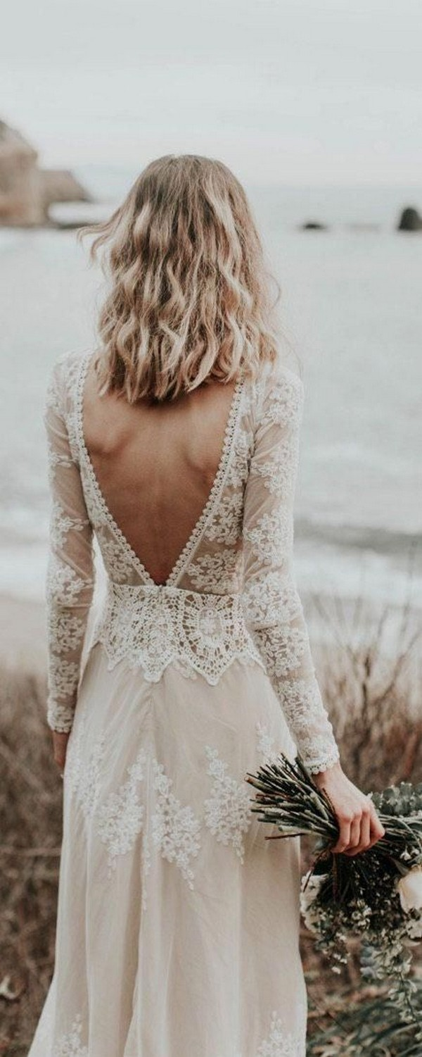 lace bohemian wedding dress with v back