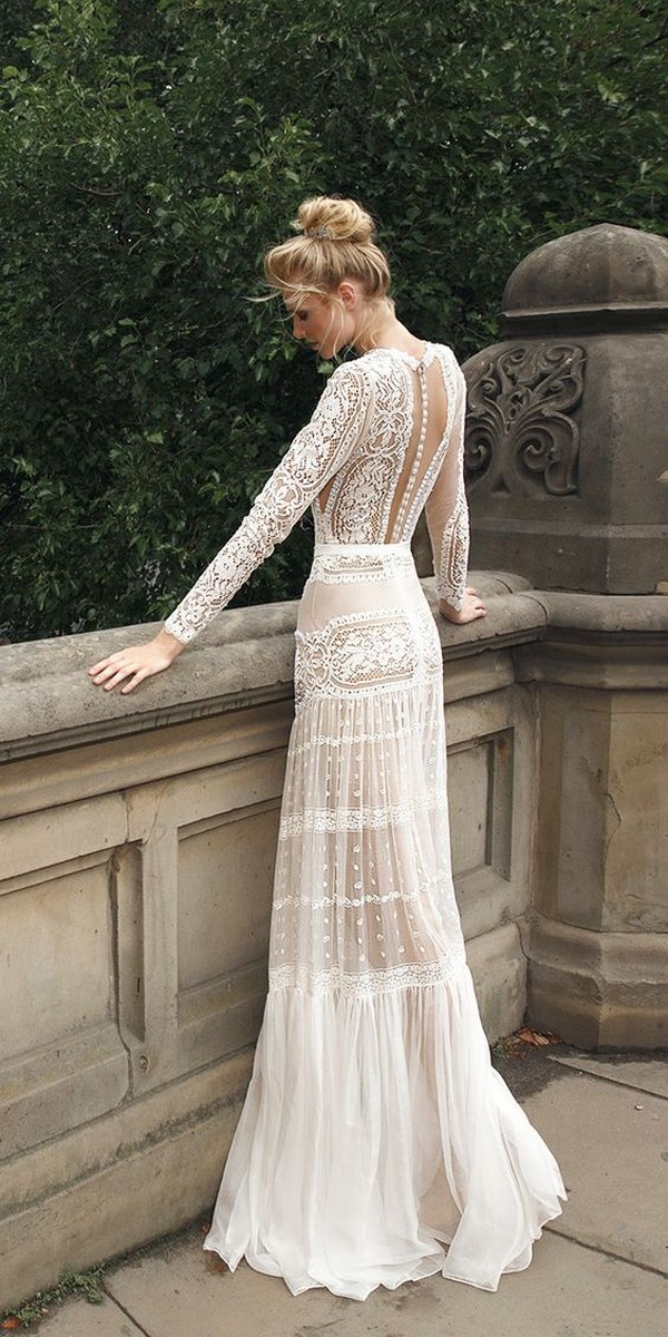 long lace sleeves boho wedding dress
